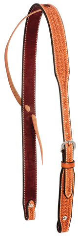 "1-1/4"" Golden Leather Spider Stamped Slip  Ear Headstall"