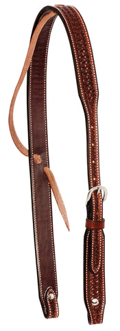 "1-1/4"" Rosewood Leather Spider Stamped Slip Ear Headstall"