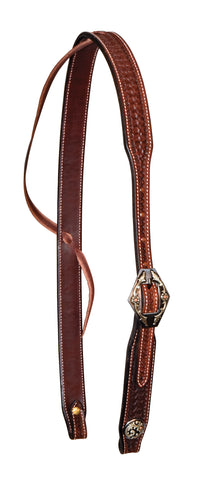 "1-1/4"" Rosewood Leather Spider Stamped Slip Ear Headstall With Wyoming Buckle"