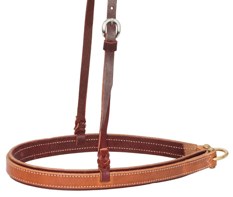"1-1/4"" Latigo Leather Noseband With  Harness Overlay"