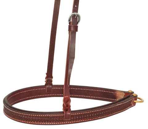 "1-1/4"" Rosewood Leather Spider Stamp Noseband"