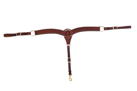 "2-3/4"" Rosewood Leather Spider Stamp Breast Collar"