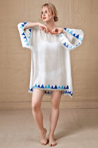 Beach Cotton/bamboo Tunic Dress White, Long Sleeve Mini Beach Dress