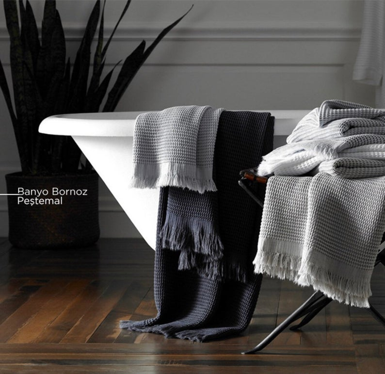 "Waffle Turkish Cotton/bamboo bath towel(40""/70"")/hand towel(35""and 20"")"