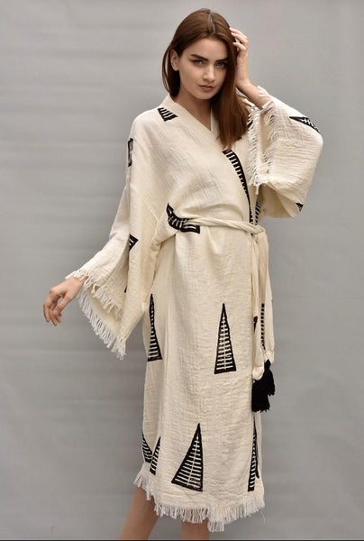 Ivory Turkish Cotton Kimono Robe-One size fits all