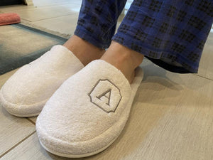 Slippers,Turkish terry luxury personalized Men/Women spa slippers, lounging terry slippers, customized slippers,