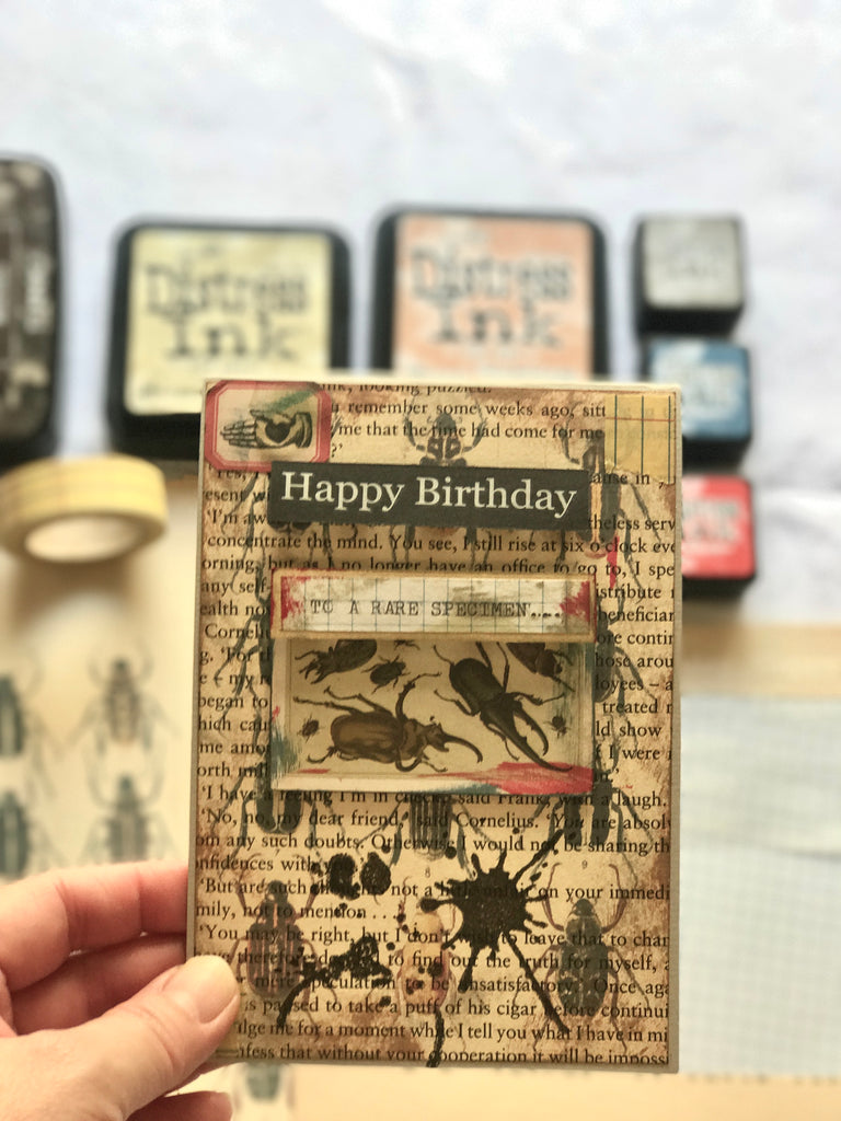 Vintage insect-themed card tutorial using Kaisercraft Stains stamp from micmoc.ocm at Mic Moc