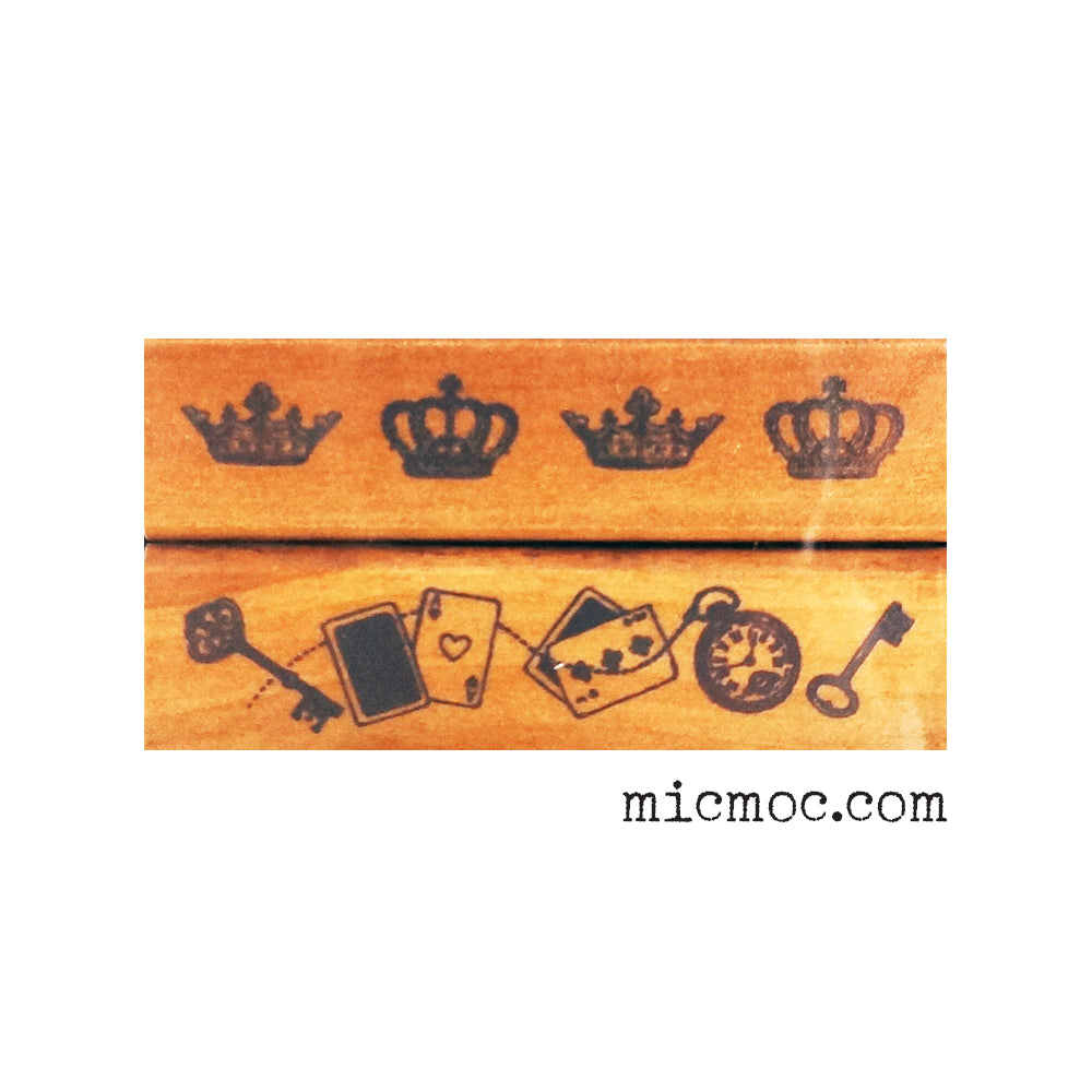 Kodomo No Kao Vintage Stamp - Crown, Keys & Playing Cards from micmoc.com at Mic Moc Curated Emporium