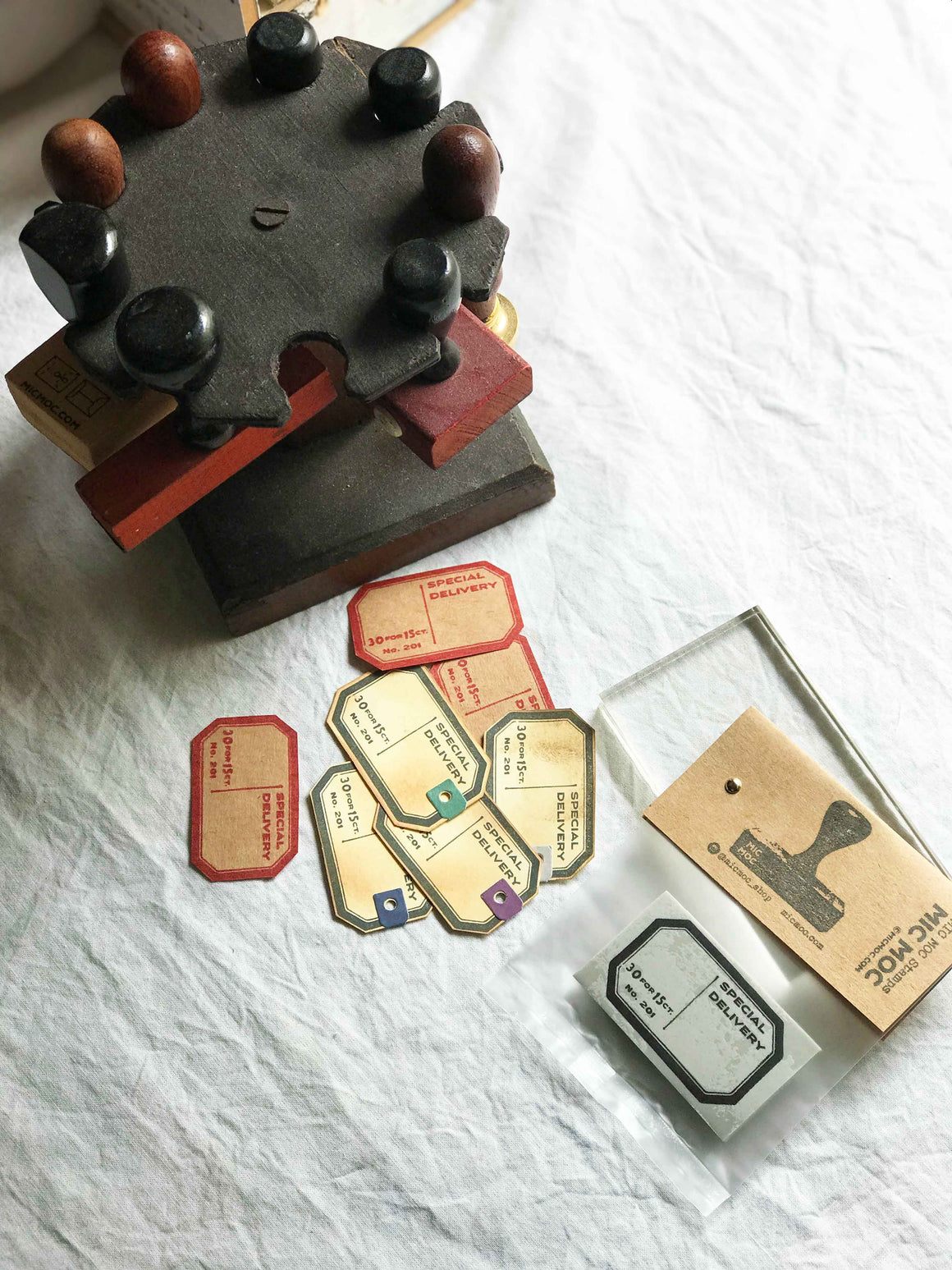 'Special Delivery' Dennison-inspired Vintage Label Rubber Stamp - Vintage Post by Mic Moc