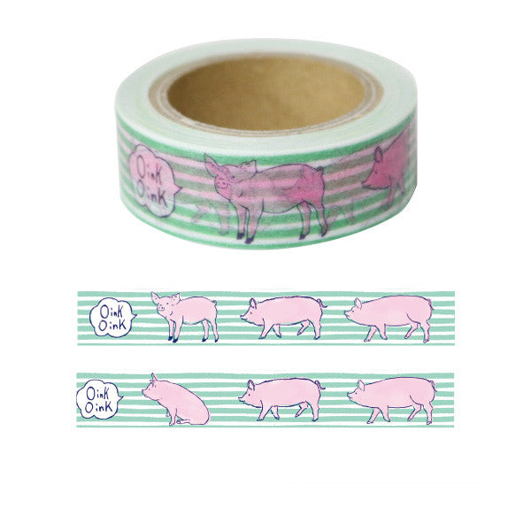 Green Flash Washi Tape - Piglet + Green Stripes