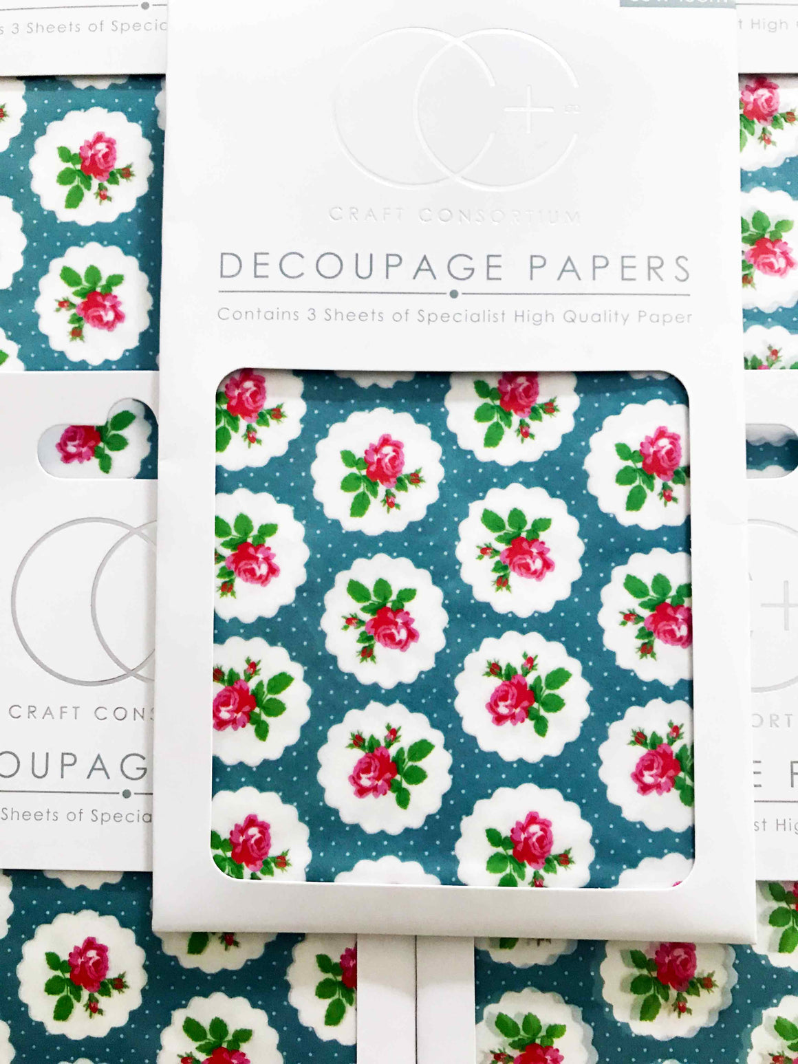 'Rose Dot Repeat' Tanya Whelan retro flowers Decoupage Paper - Craft Consortium from micmoc.com