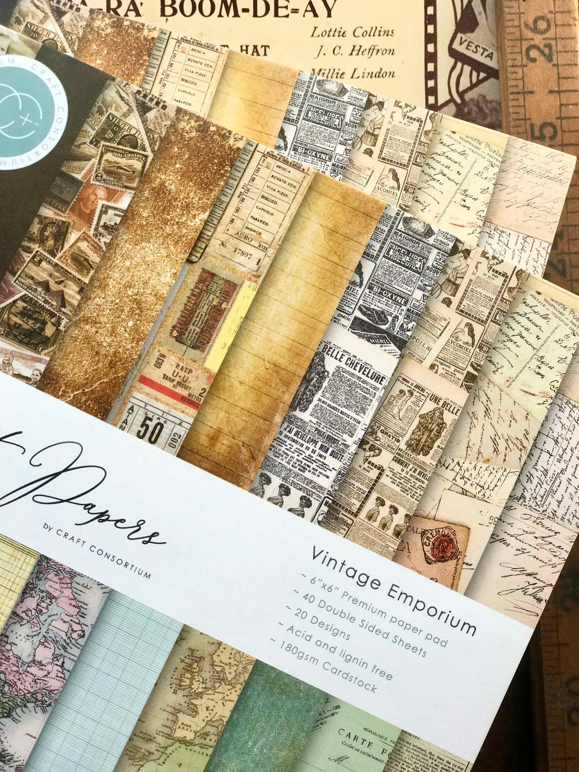 "'Vintage Emporium' 2-sided 6"" x 6"" Paper Pad by Craft Consortium from micmoc.com"