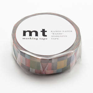 MT Washi Tape - Rainbow Mosaic On Grey