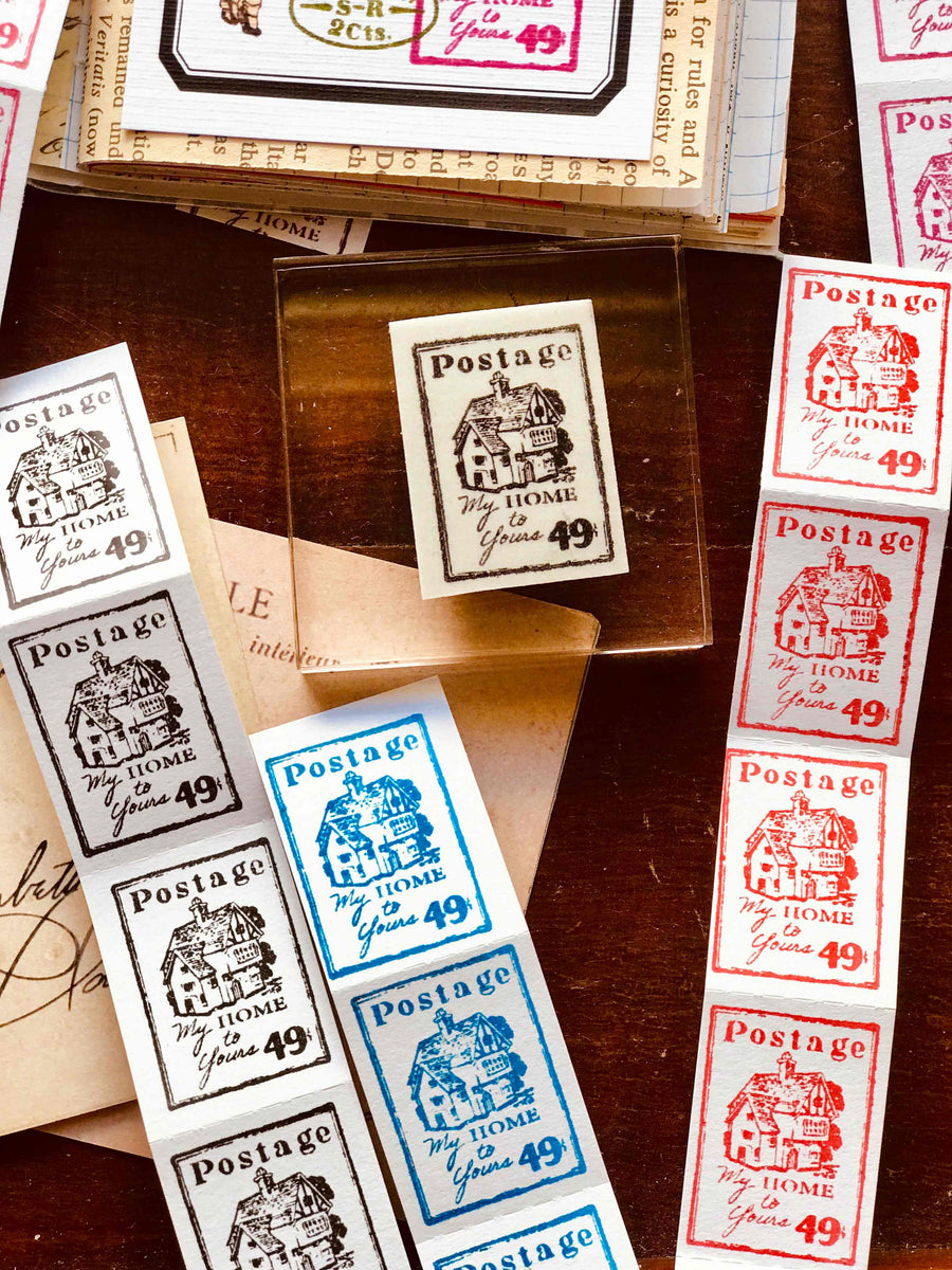 'My Home To Yours' Postage Stamp Rubber Stamp by Mic Moc from micmoc.com