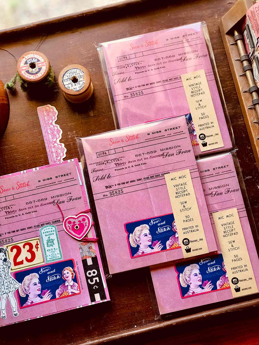 Vintage Dressmaker Shop Receipt Note Pad (ヴィンテージスタイルソーイングショップレシートメモ帳) - by Mic Moc from micmoc.com