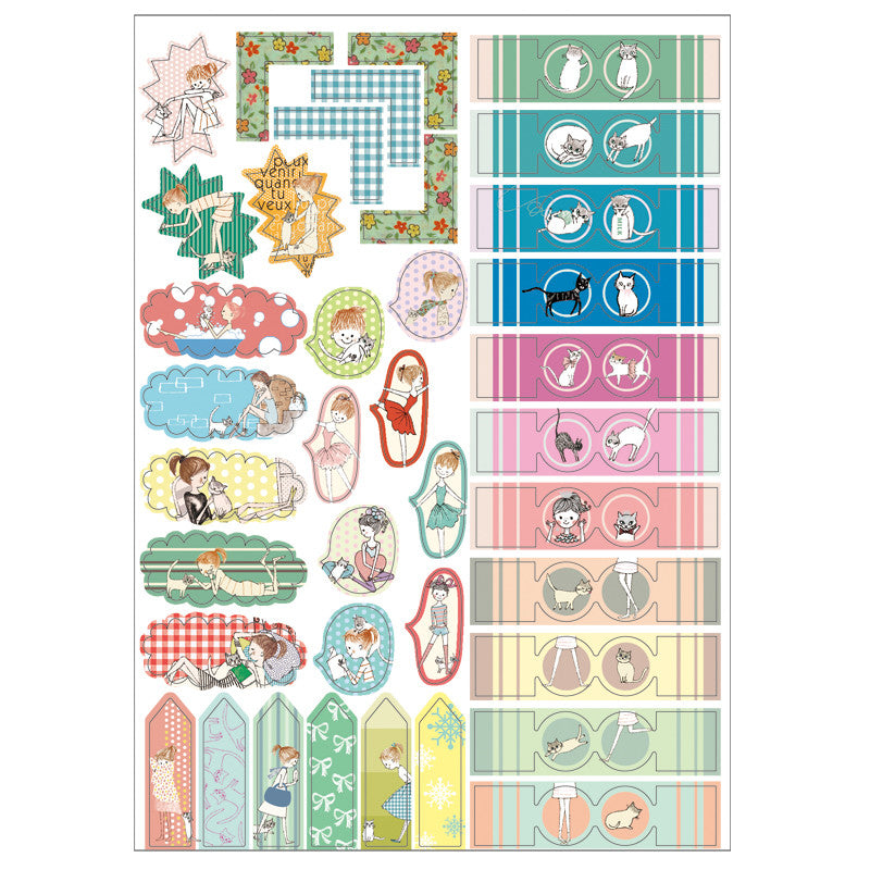 Shinzi Katoh Planner Stickers Ballerina & Kitty Cat at micmoc.com Mic Moc Curated Emporium