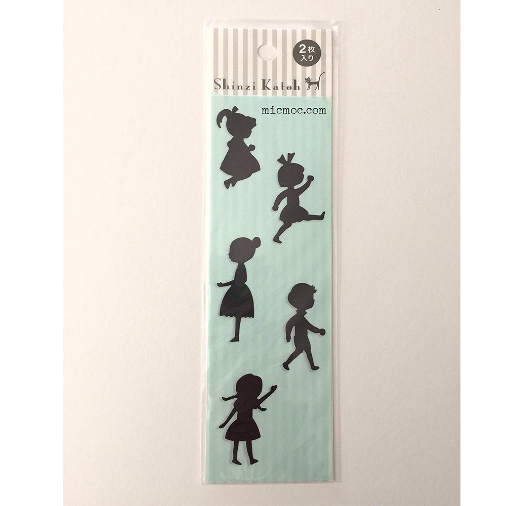 Shinzi Katoh silhouette shadow children sticker at micmoc.com Mic Moc Curated Emporium