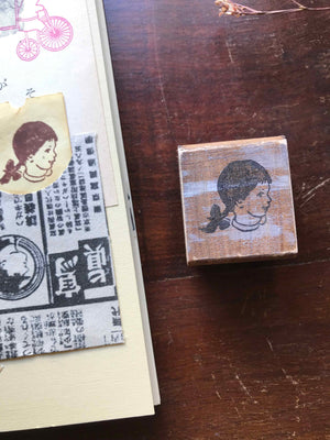 'Vintage Braided Girl' Wood Rubber Stamp by Mic Moc from micmoc.com