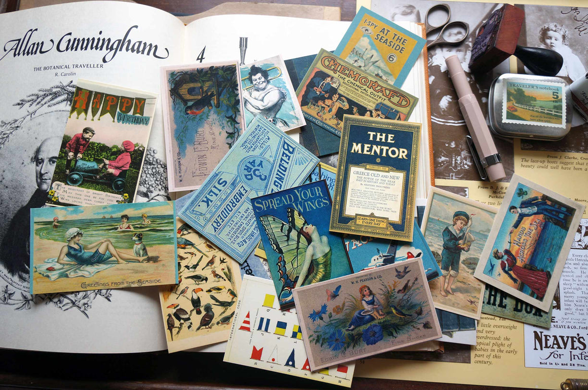 Vintage Ephemera - 'Salvage' BLUE (7 Gypsies) - Pack of 25 by micmoc.com at Mic Moc