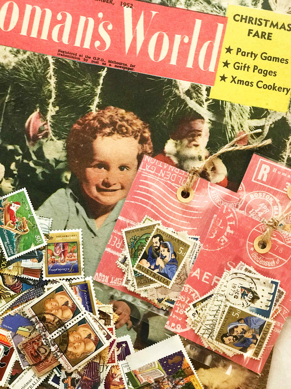 Vintage Postage Stamps - Christmas VPS01 (Set of 30) from micmoc.com at Mic Moc Curated Emporium