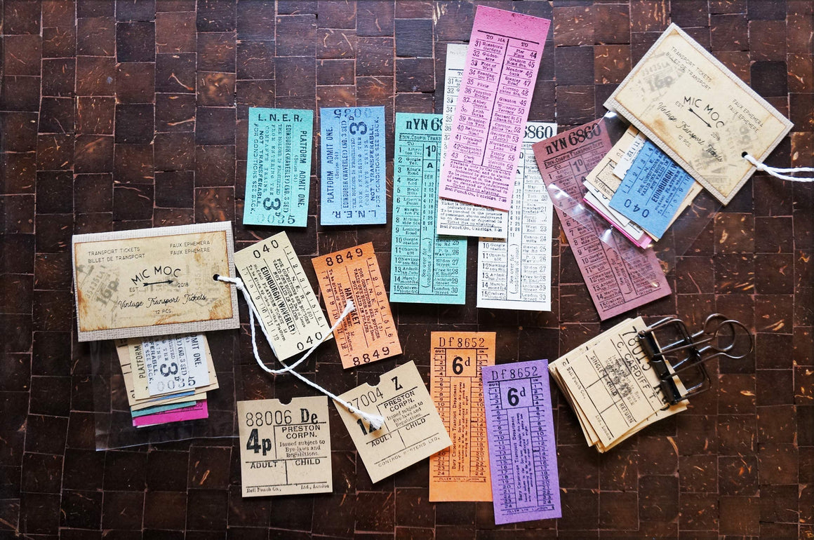 Vintage Transport Tickets - VE03- Faux Ephemera (pack of 12) bu micmoc.com at Mic Moc Curated Emporium