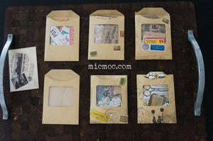 Kraft Envelopes (clear window) Set of 3 - Handcrafted Vintage Ephemera by micmoc.com