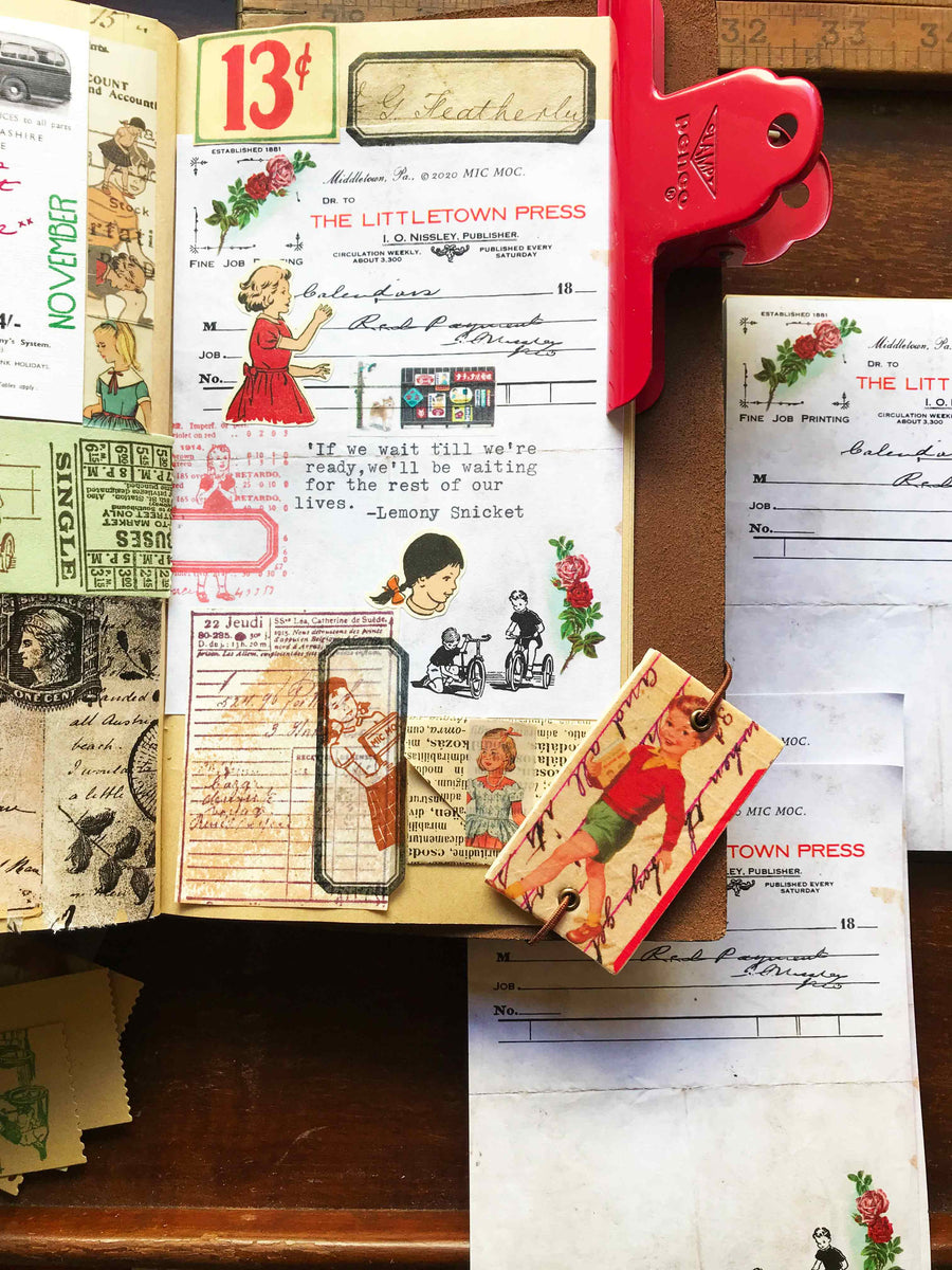 'Vintage Tricycles' Vintage Receipt Note Pad by Mic Moc (ヴィンテージ三輪車ヴィンテージレシートパッド)