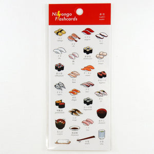 Nihongo Flashcards Clear Sticker Sheet - Sushi