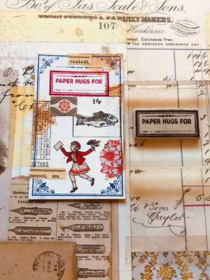 'Paper Hugs' Label Rubber Stamp by Mic Moc from micmoc.com