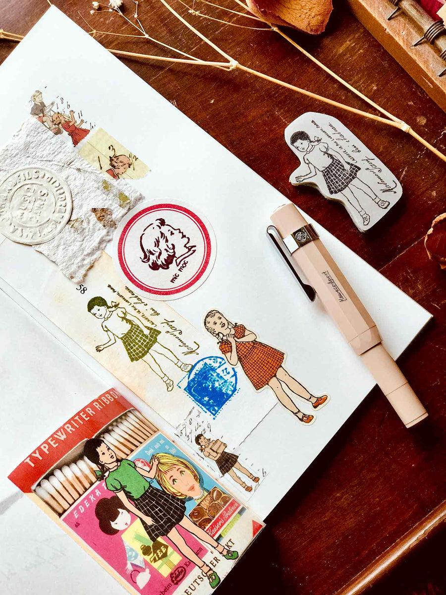 Pre-order 'She Wore Ponytails' Rubber Stamp by Mic Moc (髪ポニーテール) from micmoc.com
