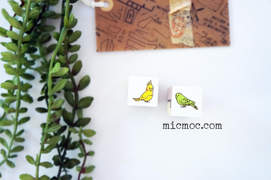 Kodomo No Kao Mini Stamp - Green Bird by Shinzi Katoh from micmoc.com at Mic Moc