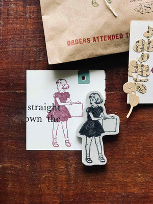 Pre-order 'Sign Girl' Rubber Stamp by Mic Moc (看板を持っている女の子) from micmoc.com