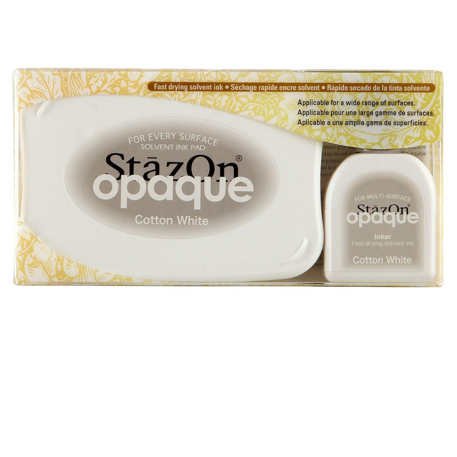 Staz On Solvent Ink Pad - Opaque Cotton White (Ink Set with re-inker)