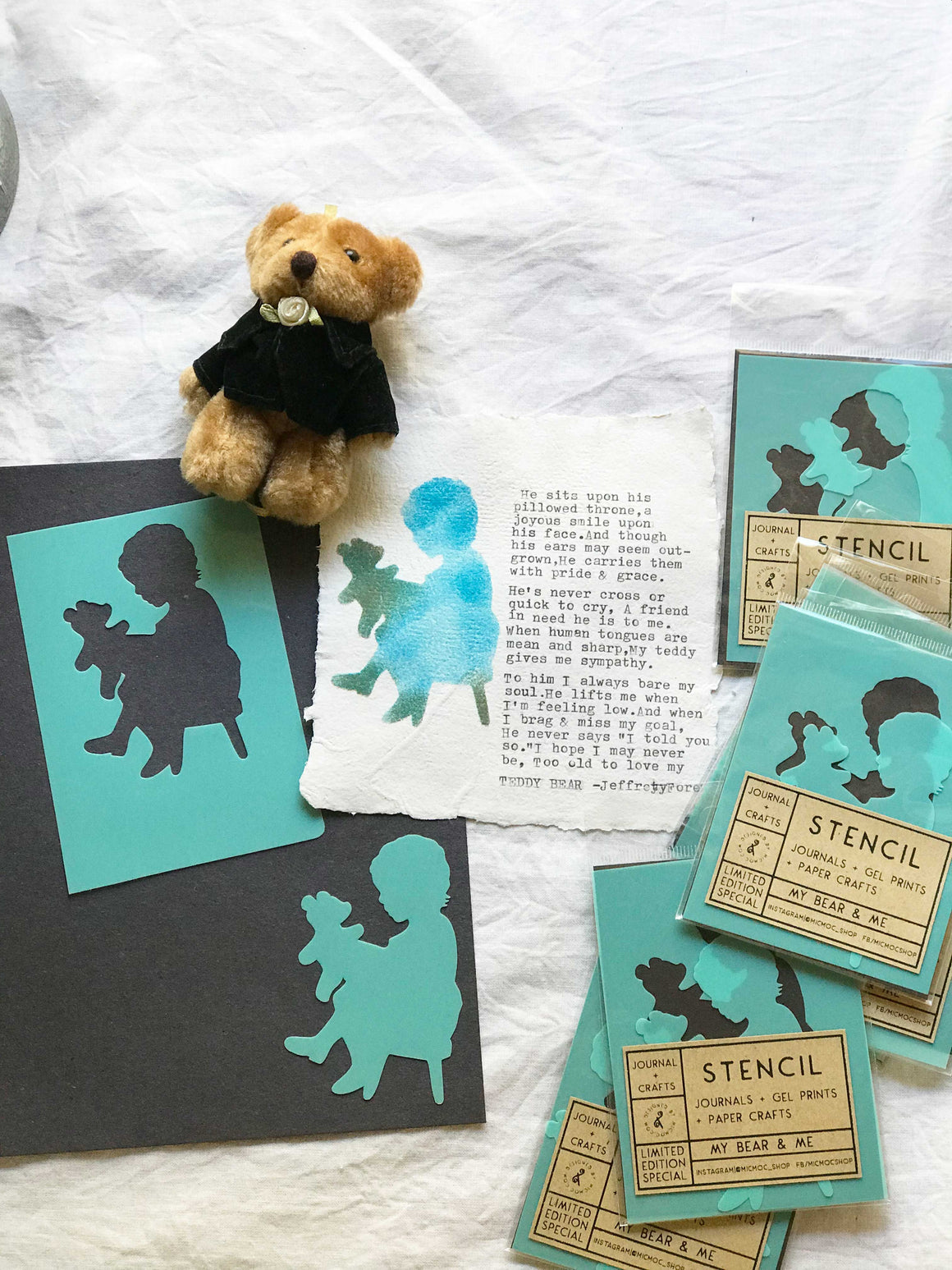 Art Stencil & Mask Set - 'My Bear & Me' at Mic Moc Curated Emporium from micmoc.com