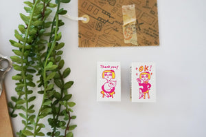 Kodomo No Kao Office Stamps - OK Lady on chair from micmoc.com at Mic Moc Curated Emporium