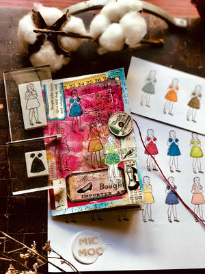 PRE-ORDER 'The Dress' set of 2 Rubber Stamps by Mic Moc from micmoc.com