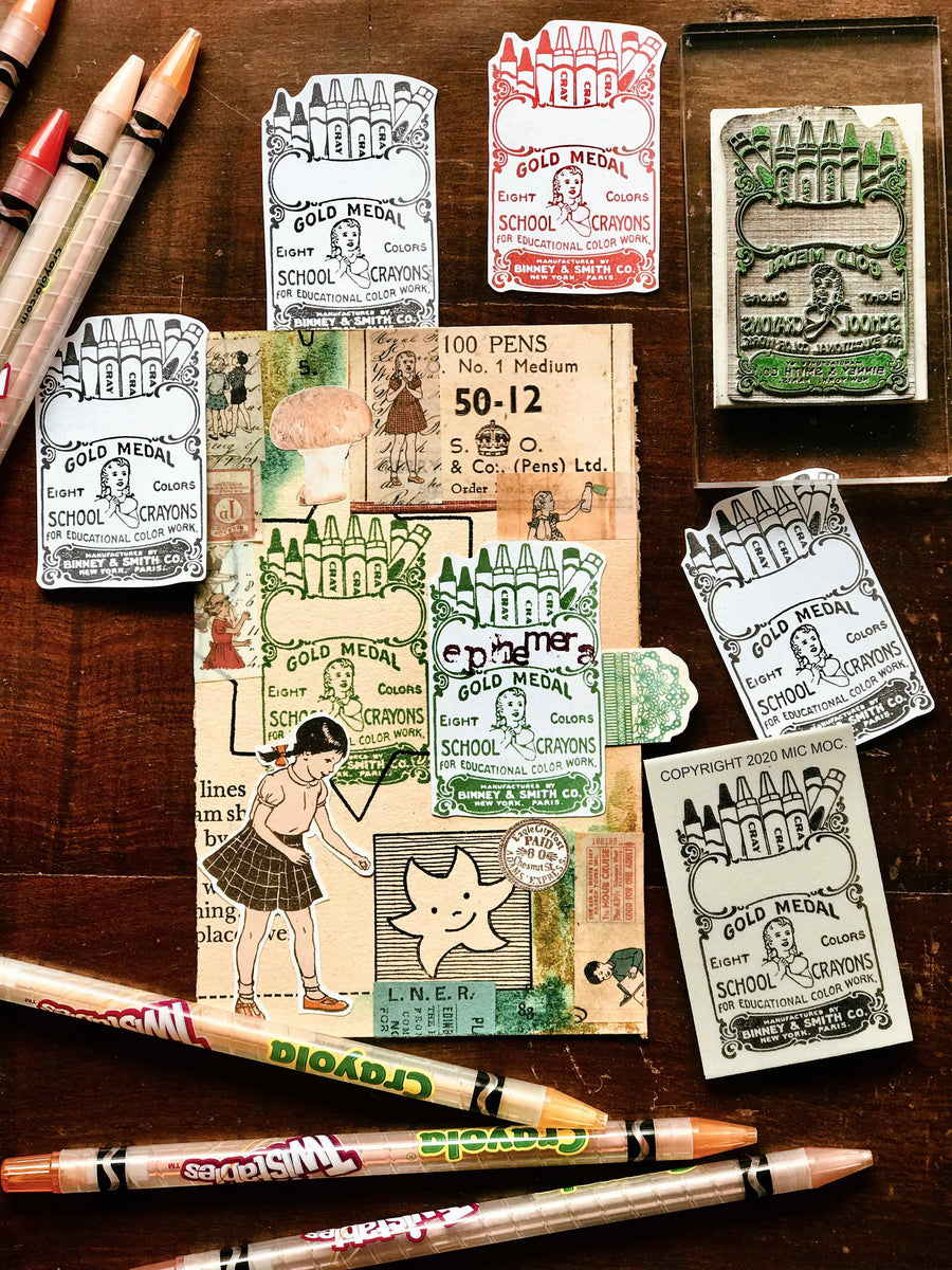 PRE-ORDER 'Vintage Crayons' Rubber Stamp by Mic Moc