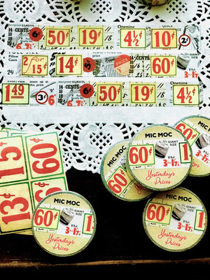 'Yesterday's Prices' Washi (Printed) Tape WT006YP20M - by Mic Moc (ヴィンテージ価格の看板和紙テープ)from micmoc.com