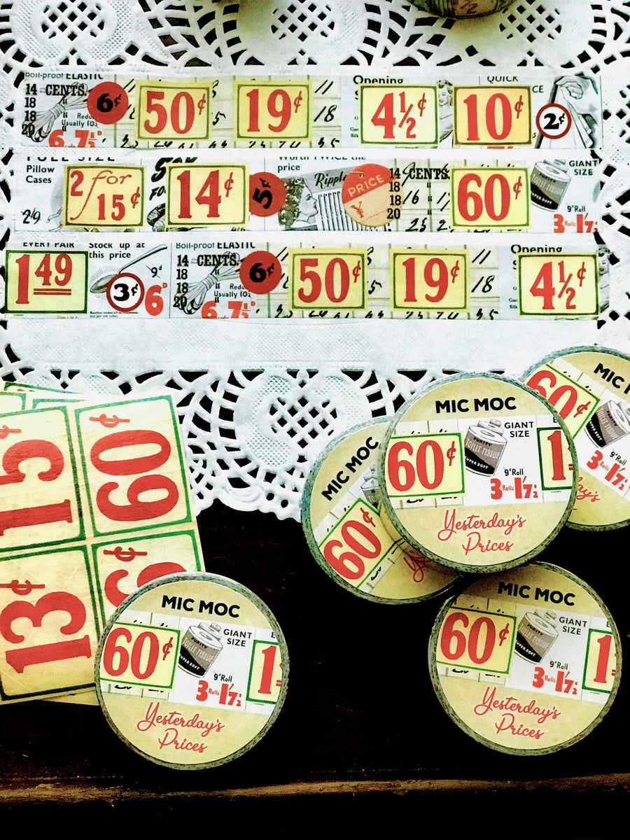 'Yesterday's Prices' Washi (Printed) Tape WT006YP20M - by Mic Moc (ヴィンテージ価格の看板和紙テープ) from micmoc.com