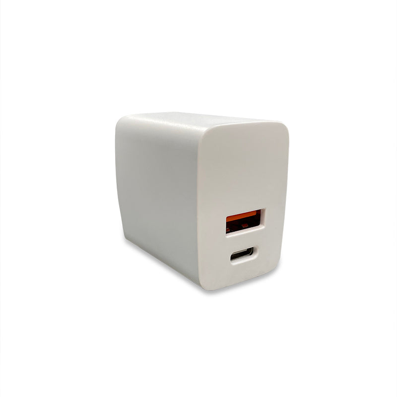 Innovative Fast Charger for the New iPhone 12s - Dual Port (USB C/A) at 20 Watts (Black/White)