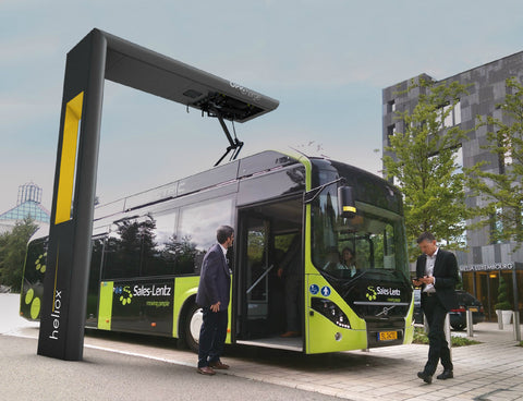 Heliox bus charger charging a Volvo bus