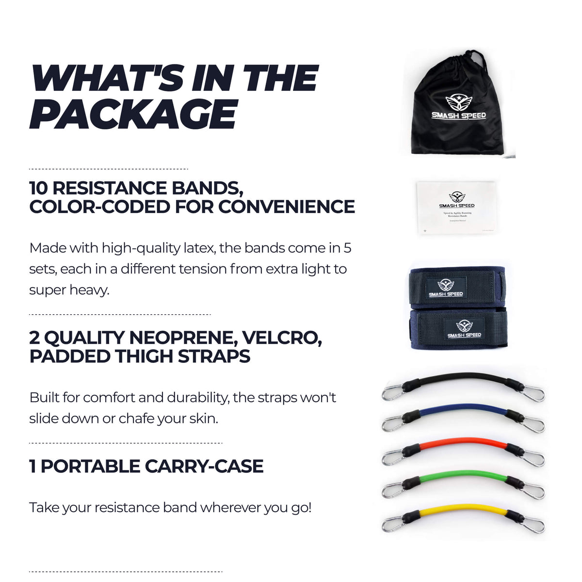 leg resistance bands what's in the package