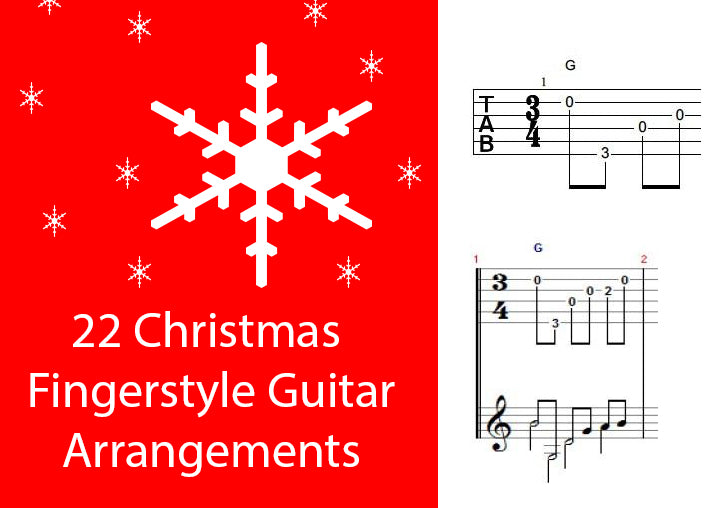 22 Christmas Fingerstyle Guitar Arrangements - TAB/Notation - Printable PDF