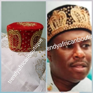 Men's Agbada native cap, Royal Igbo  cap ( Aka) size is base on your head circumference in inches