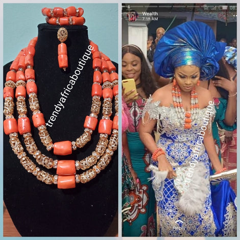Coral Beads Necklace set. (Traditional wedding Beads)