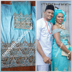 VIP/Celebrant George Wrappers/ Blouse fabric. Red Carpet Niger/Delta/Igbo Traditional wedding George wrapper. Velvet wrappers. You can count on Our quality fabrics and Best stone work. Big George's Pre-Cut into 2.5yds + 2.5yds + 1.8yds net for blouse