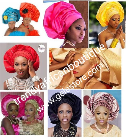 Sago gele 2 in 1 package headtie for Nigerian party. Regular big gele one in a pack for making bigger gele. Aso-ebi gele