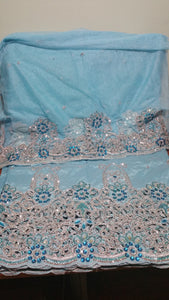 CLEARANCE Item Sky blue hand Stoned silk taffeta George wrapper with hand stones. 5yds. Wrapper & 1.8yds net blouse