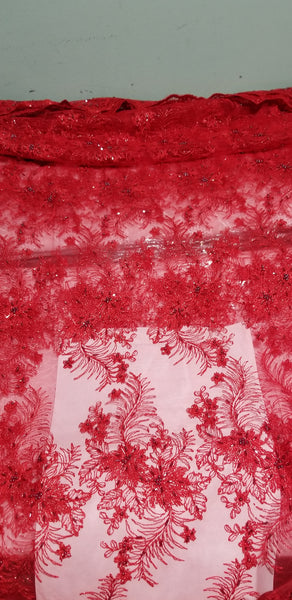 Red beaded and stones French lace fabric for making Blouses for wrapper. Igbo/Delta/Edo women blouse fabric 2yds available