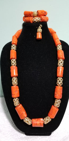 Original Edo Native bead.Coral beaded necklace set for Nigerian/Edo traditional wedding.  sold as set. Coral-necklace, earrings and bracelet